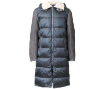 Wattierter Mantel mit Lammlederärmeln