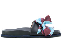 bow embroidered slider sandals