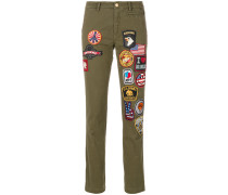 embroidered patch trousers