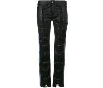 Skinny-Jeans mit Ledereinsatz