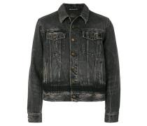 distressed cropped denim jacket