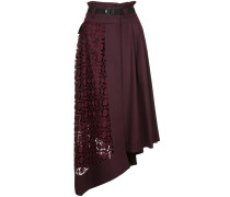 asymmetric lace panel skirt