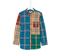 colourblock plaid shirt