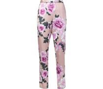 Seidenpyjamahose mit Blumen-Print