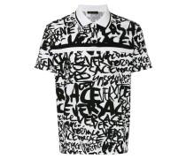 graffiti print polo shirt