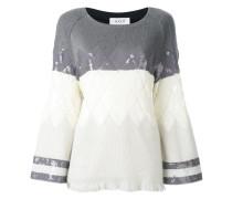 Argyle-Pullover mit Pailletten