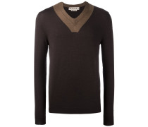 contrast v-neck jumper