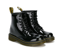 varnished combat boots