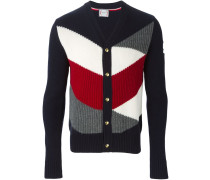 Gerippter Cardigan in Colour-Block-Optik