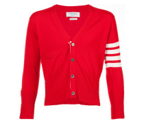 Short V-Neck Cardigan With 4-Bar Stripe In Red Cashmere