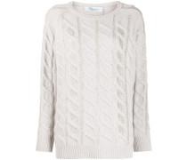 Verzierter Pullover mit Zopfmuster