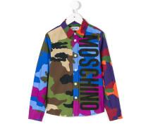 logo print camouflage shirt