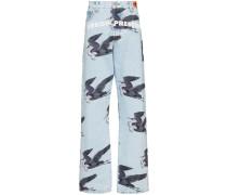 Jeans mit Vogel-Print