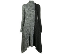 asymmetric monochrome block knit dress
