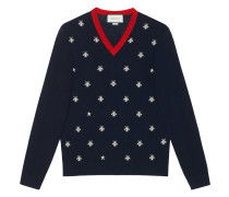 Wool v-neck with bees and stars - men - Wolle