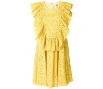 Gerüschtes Kleid mit floraler Lochstickerei