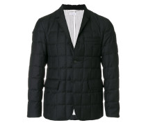 Downfilled Classic Single Breasted Sport Coat In Dark Grey Super 130's Wool Twill
