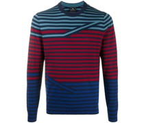 stripe print long-sleeved sweater