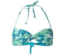 leaf print bandeau bikini top