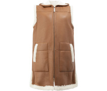 shearling hooded gilet