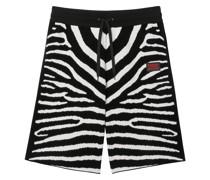 Knielange Shorts mit Zebramuster