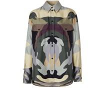 Seidenhemd mit Camouflage-Print