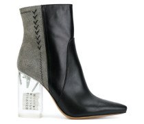 bicolour boots with perspex heel