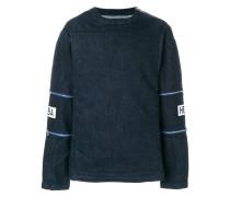 double zip patch sleeve sweatshirt