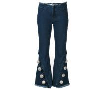 raw edge flared jeans
