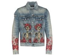 graphic print denim jacket