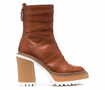 overlap-panel leather ankle boots