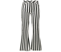mid rise striped flared trousers