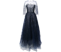 sequin-embroidered fishnet gown