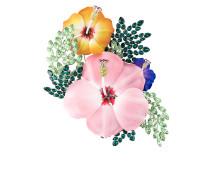 enamel hibiscus brooch