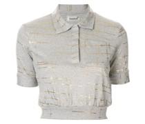 Meliertes Cropped-Poloshirt