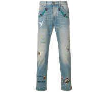 embroidered cotton jeans