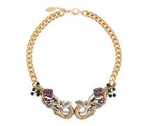 Halskette mit Schlangenköpfen und Swarovski-Kristallen