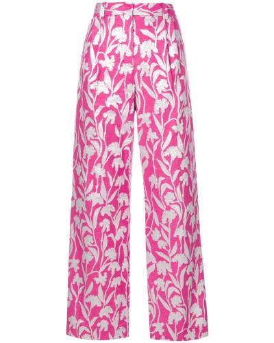 carnation jacquard trousers