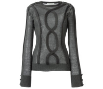 Semi-transparenter Pullover mit Zopfmuster