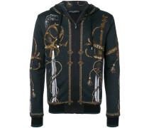 sword print zipped hoodie