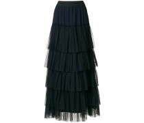 long tulle ruffled skirt