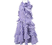 striped ruffled sleeveless dress