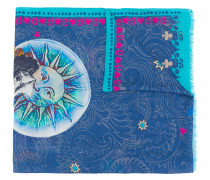 moon and paisley print scarf