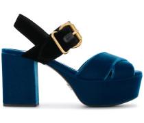 Samt-Sandalen mit Plateausohle