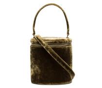 green Vitti Velvet Barrel Bag