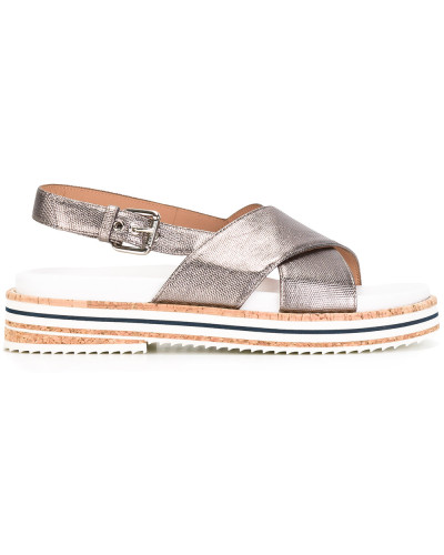 Slingback-Sandalen mit überkreuzten Riemen