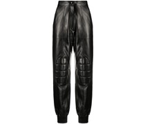 padded faux leather trousers