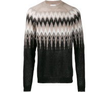 Intarsien-Pullover mit Zickzackmuster