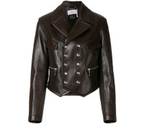 double-breasted leather jacket