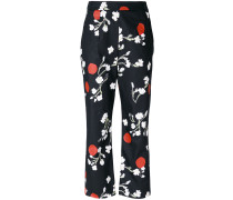 floral cropped tailored trousers